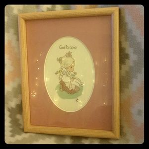✨Precious Moments✨ girl&duck stitched vintage pic